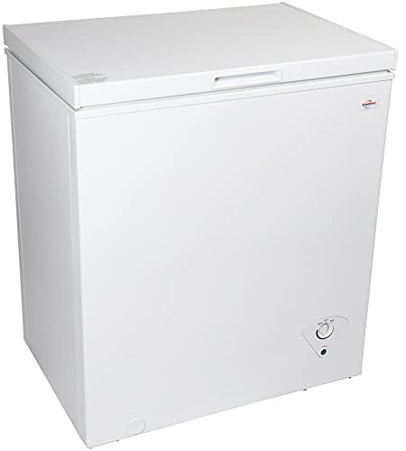Koolatron KTCF155 Compact Chest 5.0 Cubic Feet Capacity and Removeable Wire Basket-Mini Freezer Ideal for Home, Apartment, Condo, Cabin, Basement-White