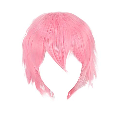 Bokeley Multi Color Short Straight Hair Wig Women Girl's Charming Synthetic Wig Anime Party Cosplay Full Sell Wigs+Cap 30cm (Pink)