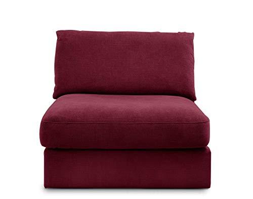 """CAVADORE Sofa-Modul """"Fiona"""" Sitzelement mit Rücken / XXL- Sessel mit Rückenlehne / 94 x 90 x 112 / Webstoff burgunder-rot"""