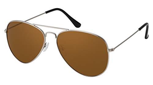 La Optica B.L.M. Herren Sonnenbrille Damen UV400 Retro Pilotenbrille Vintage Fliegerbrille 70er Jahre Groß - Silber Farben (Gläser: Braun)