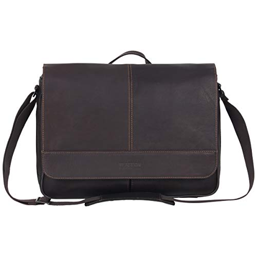 Kenneth Cole Reaction Risky Business Full-Grain Colombian Leather Crossbody Laptop & Tablet Flapover Messenger Bag, Dark Brown