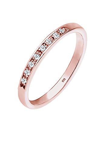 DIAMORE Anillo de compromiso para mujer con diamante (0,08quilates), fabricado en plata de ley de 925