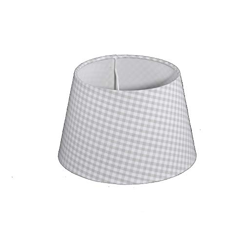 Lampenschirm für Tischleuchte in Rund TL 20-15-13 Hell Grau Kariert