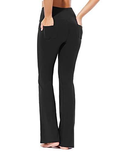 BALEAF Damen Flare Yogahose High Waist Bootcut Sporthose mit Tasche Schwarz M