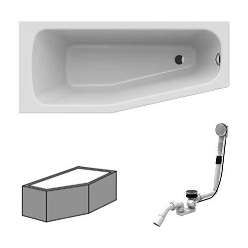 RIHO Acryl Raumsparwanne rechts Komplett Badewanne weiß 160 x 70 inkl. Ab- und Überlauf und Styroporträger
