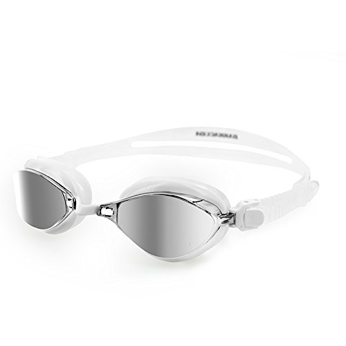 Barracuda Swim Goggle Fenix Mirror - Patented TriFushion System, Mirror Lens Anti-Fog UV Protection Quick Fit No Leaking Competition for Adults Men Women #72710 (White)