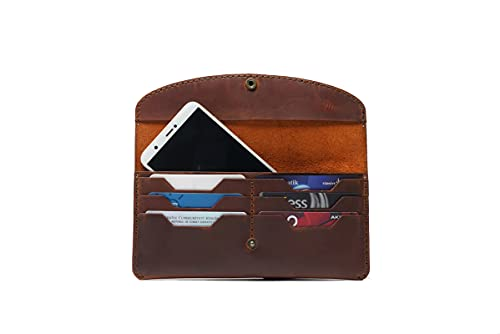 Hecho a mano de cuero genuino tarjeta caso teléfono cartera auténtico mujeres hombres accesorio elegante diseño regalo - ES-9032-K