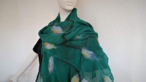 eleganter Damenschal aus Wolle und Seide, edles Tuch handgefilzt, Halstuch, Stola, Umhang, Nunofilz
