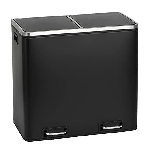 SVITA TM2X30 Treteimer 60 Liter Abfalleimer Mülleimer Design Mülltrennung Papierkorb Küchen-Ordnung Trennsystem (Schwarz)
