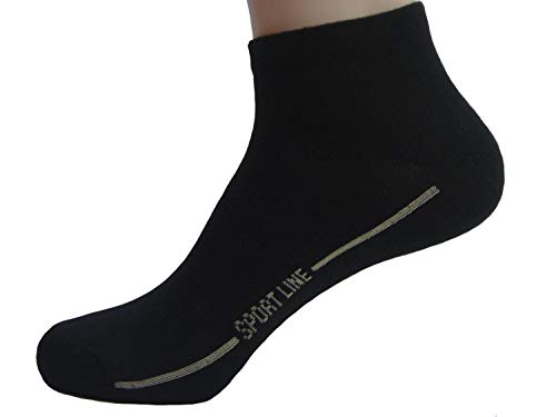 Strumpf-Welt Sneaker Socken Herren Damen Kurzschaft Atmungsaktive Baumwolle 8 Paar Schwarz Größe 43-46