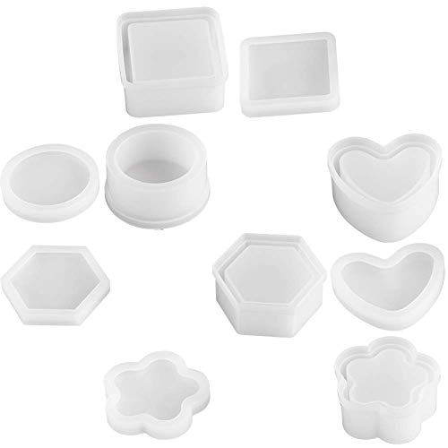 Mifive DIY Silicone Resin Mold 5 Shape Containers with Lid, Jewelry Container Box Holder Mold, Coaster, Flower Pot, Ashtray, Pen Candle Soap Holder