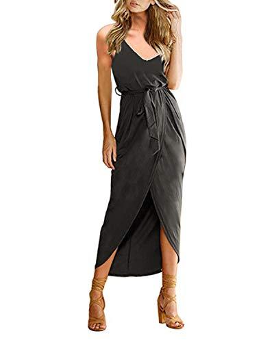 CNFIO Kleider Damen Sommerkleider Maxi Kleid ?rmellos Abendkleid Strandkleid Elegant Lange Cocktail mit G¨¹rtel Grau XL