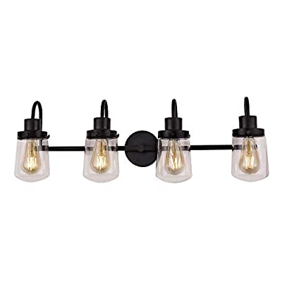 YAOHONG 4-Light Bathroom Vanity Light Fixtures, Vintage Indoor Wall lamp in Black with Clear Glass Shades, Industrial Wall Mount Light Sconces for Hallway Kitchen Living Room