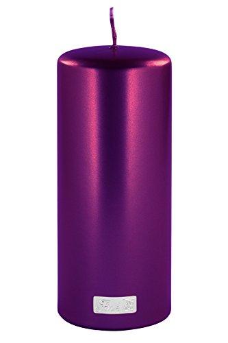 Fink Stumpenkerze - Metallic lila getaucht Brenndauer ca 110 Std H 20 cm D 8 cm