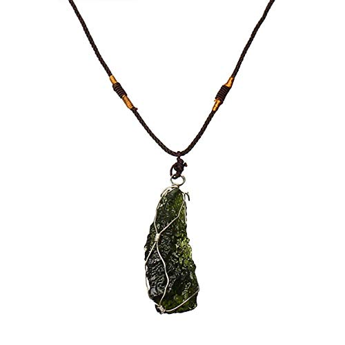 RanDal Melting Moldavite Quartz Pendant Crystals Gemstone Necklace Specimen Healing 15G