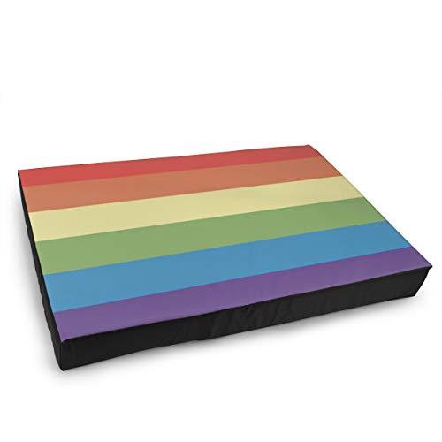 Jacklee Hond Kat Bed met Orthopedisch Schuim en Wasbaar Anti-slip Cover, Gay Pride LGBT Vlag