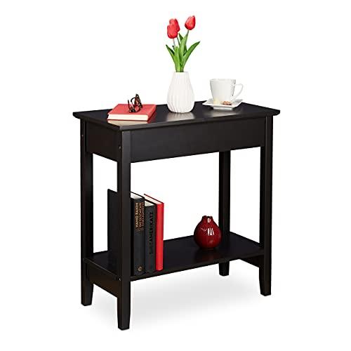 Relaxdays Beistelltisch mit Stauraum, HxBxT: 62 x 58 x 28 cm, Sofatisch Wohnzimmer, Ablagetisch modern, MDF, schwarz