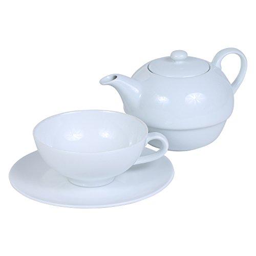Teekanne - Teeservice Set aus Porzellan Tea for One - 3-teilig: Teeakanne, Tasse und Untertasse