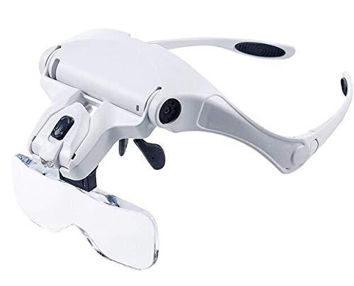 ROSEBEAR diadema lupa optivisor de vidrio iluminado lupa joyeros profesionales con 5 lentes intercambiables para leer reloj herramienta de reparación de pasatiempos