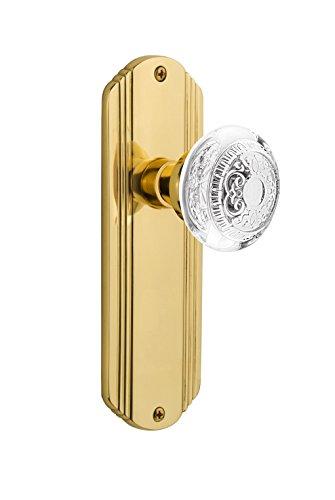 Nostalgic Warehouse 750179 - Pomo para puerta de paso (latón sin lacar, con diseño de huevo de cristal y dardos)