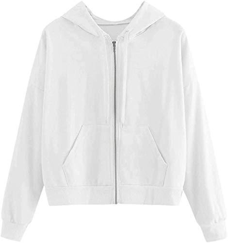 Sudadera de manga larga con capucha y cremallera para mujer, estilo cárdigan blanco M