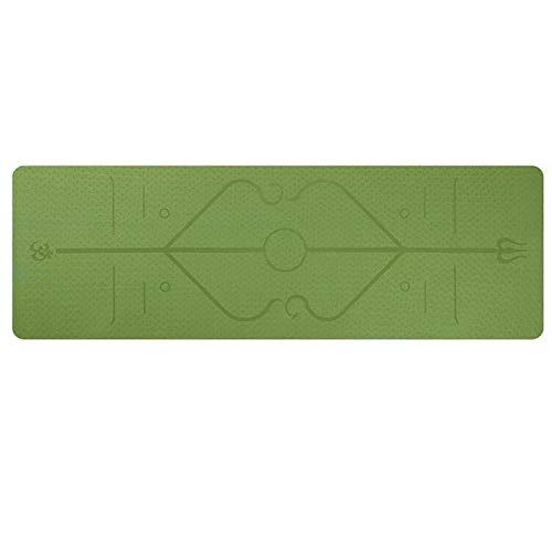WANGCAI Esterilla de yoga con línea de posición antideslizante alfombra para principiantes protección del medio ambiente fitness gimnasia mat (Color: verde)