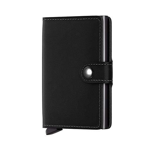 FREVANDOU Kreditkartenetui Echtes Leder Kartenetui Geldklammer Portmonee Geldbeutel mit RFID Schutz für Alltag (Schwarz)