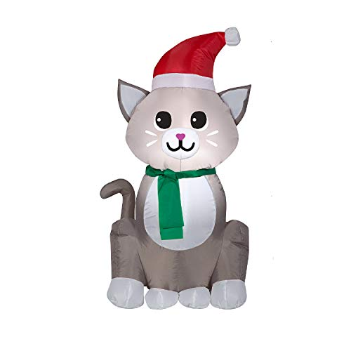 Gemmy 3.5ft Sitting Kitten with Santa Hat Christmas Inflatable