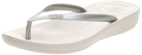 FitFlop Women's iQushion Ergonomic Flip-Flops, Silver, 8