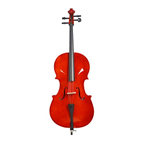 LYKOS Acoustic Cello + Case + Bow + Rosin Natural Color Beautiful Varnish Finishing (3/4)