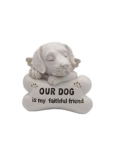 Comfy Hour Pet in Loving Memory Collection 5' Sleeping Dog Angel On Bone Figurine - in Memory of My Best Friend Bereavement, Light Gray, Polyresin
