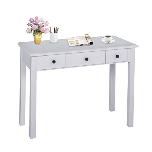 Home Office Small Writing Desk with Drawers Bedroom, Study Table for Adults/Student, Vanity Makeup Dressing Table Save Space Gifts Grey (Grey)