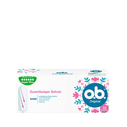 o.b. Original Super Plus,Tamponsfürsehr starke Tagemit StayDry Technologie und geschwungenen Rillen, für zuverlässigenSchutzund ein sauberes Gefühl(1 x 32 Stück)