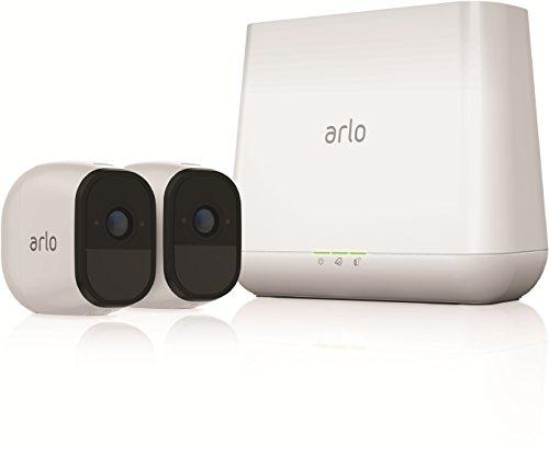 Arlo Pro VMS4230 - Sistema de seguridad y vigilancia de 2 cámaras sin cables con estación base y sirena (recargable, interior/exterior, visión nocturna, audio bidireccional, visión 130º)