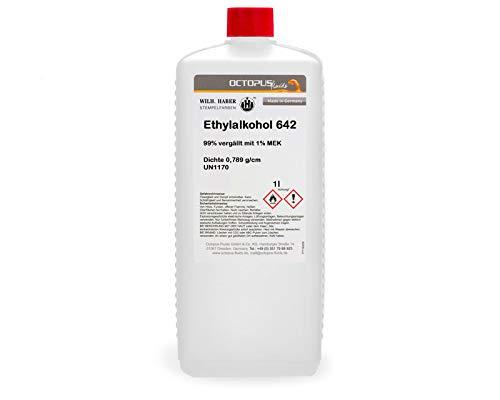 1 Liter Ethanol, Ethylalkohol 642, 99% vergällt mit 1% MEK