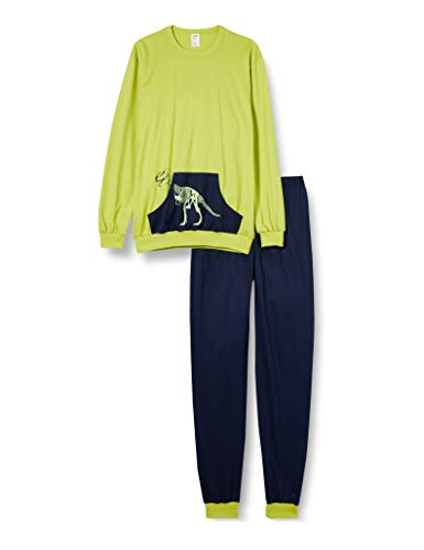 CALIDA Jungen Boys T-Rex Pyjamaset, Bright Lime, 152