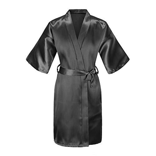 EPLAZA Kids Girls Solid Satin Robe Bathrobe Sleepwear for Spa Party Birthday Wedding (Black, 14 (Height 4'9