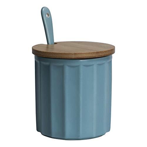 Zuccheriera in ceramica con coperchio in bambù e cucchiaino, design elegante, per casa e cucina, bianca, 270 ml Verde.