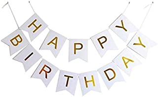 Party Propz White Happy Birthday Banner For birthday decoration Men Women Adults Kids, Party Supplies Party Decorations