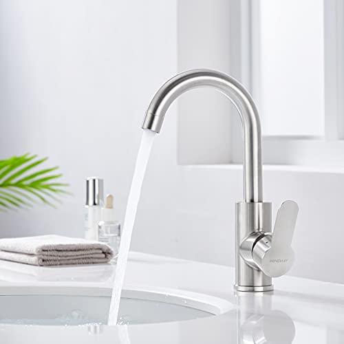 WINDALY Vattenkran badrum eller kök, tvättställsarmatur blandare tvättställ, armatur kök badrum kran kökskran i rostfritt stål med 360° vridbar hög pip