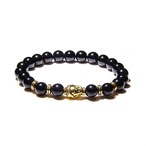 Buddha Kopf Armbänder Männer Vintage Elastische Gebet Schmuck Natürliche Chakra Tiger Eye Stein Perlen Armreif Gold Charme (Length : 21cm, Metal Color : Onyx 1)