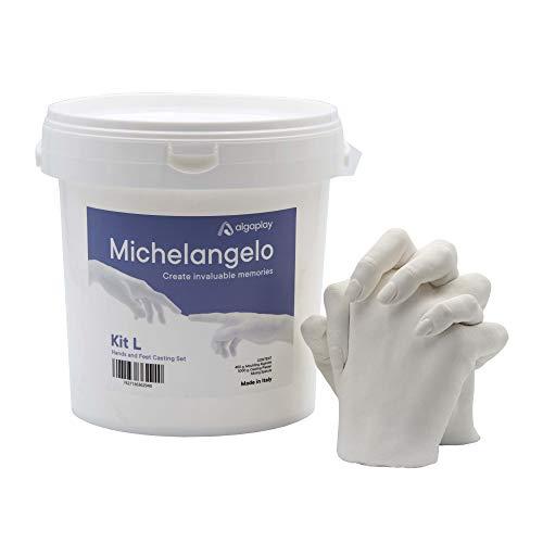 Michelangelo KIT L 2 MANOS, para crear una escultura de 2 manos de adultos o 3 de niños con familiares o amigos. Incluye jarra medidora de 1 litro y espátula de plástico para mezclar.
