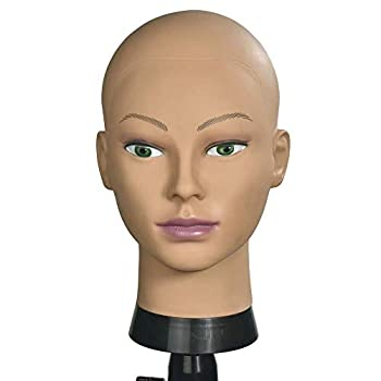 MRTOUMO Bald Mannequin Head for wigs Training Head Wig Head Professional Cosmetology for Wig Making and Display Hat Helmet Glasses Display Head Model with Free T-Pins