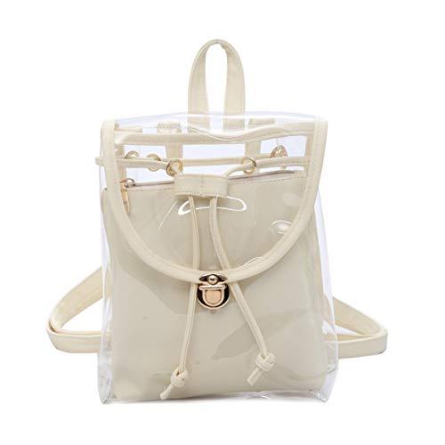 TENDYCOCO Ryggsäck transparent dubbelskikt godisfärg handväska resa för flickor (svart)