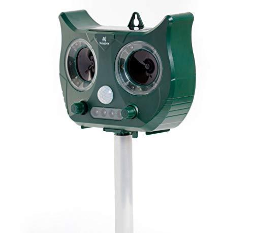 Nevalex Ultrasonic Animal Repeller Solar Powered Waterproof with Sound Control, Motion Sensor & Flashing Lights. Scare Away Deer Cat Dog Squirrel Birds Mole Rat Vole Skunk Raccoon Rabbit Repellent