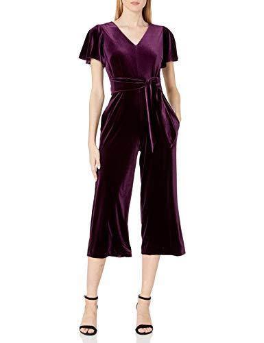 Tahari ASL Women's Flutter Sleeve V-Neck Velvet Jumpsuit Cocktail Dress, French Plum, 10