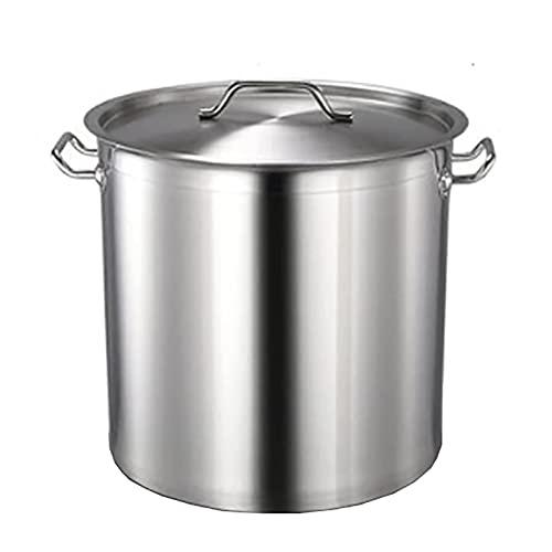 YLKCU Olla para cocinar al Vapor, Olla para Sopa Profunda de Acero Inoxidable 201 Espesado para el hogar, para hostelería y el hogar, con Tapa para Estufa de Gas/Cocina de inducción (24-108 L)