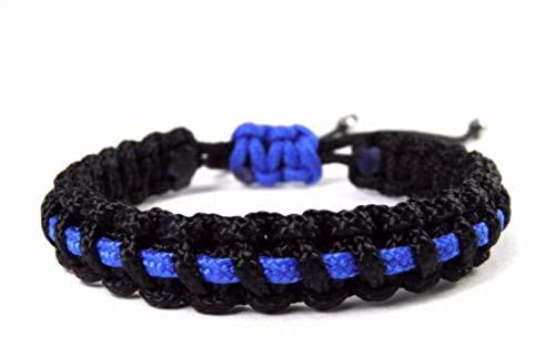 HanseCharms Paracord Typ I Armband-Thin Blue Line-Polizei-Männer, Frauen, Kinder Armband-Verstellbar, 1 cm breit (M = 16-20 cm)