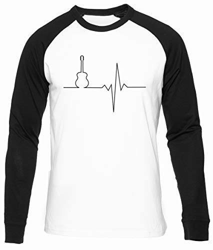 Gitarre Herz Weiß Unisex Baseball T-Shirt Herren Damen Lange Ärmel Größe XXL Unisex Baseball T-Shirt Long Sleeves Size XXL