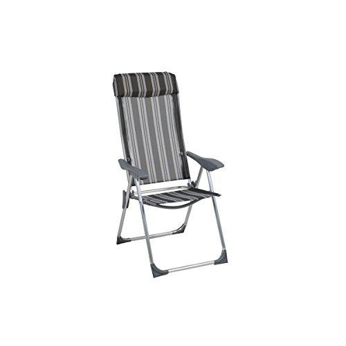 greemotion Chaise pliante de jardin Texel – Chaise réglable à dossier inclinable – Chaise pliable de camping – Chaise de plage grise à rayures – Chaise avec accoudoir en alu, textilène et plastique